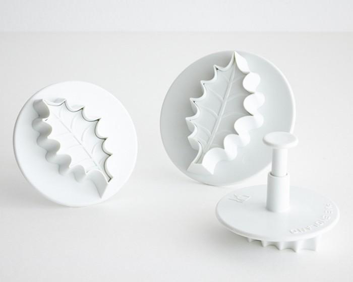 fondant gum paste holly leaf plunger cutter set