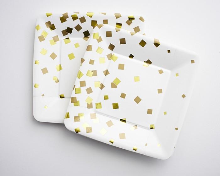 Metallic Gold Confetti Paper Plates  sc 1 st  Cakegirls & Gold Confetti Paper Plates - Set of 12 Cakegirls