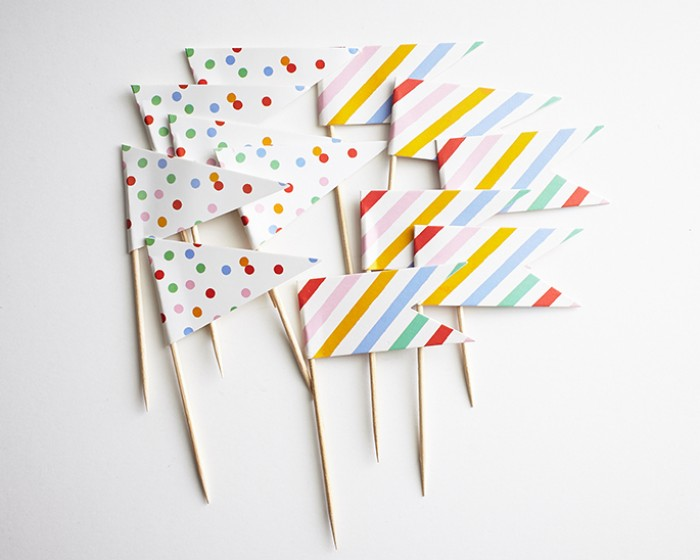 Stripe Confetti Toothpick Cupcake Flags Toppers