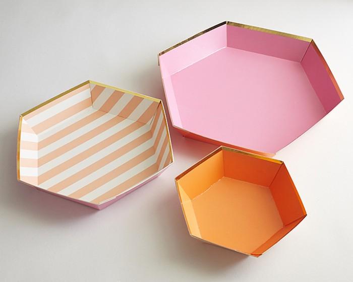 pink orange gold hexagon paper serving trays platters