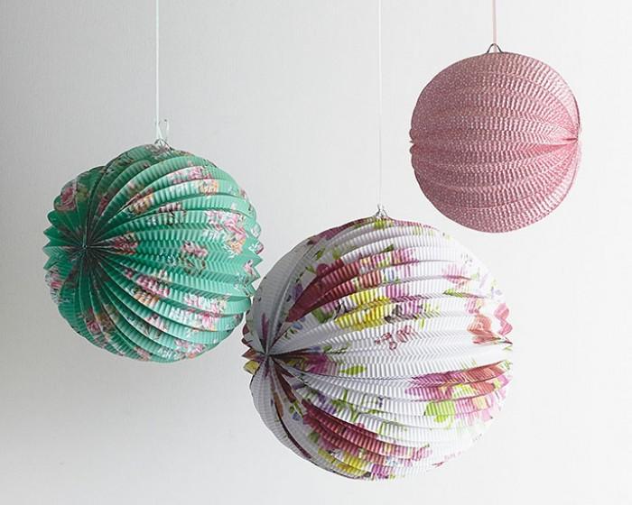 Vintage Floral Garden Paper Globe Lanterns