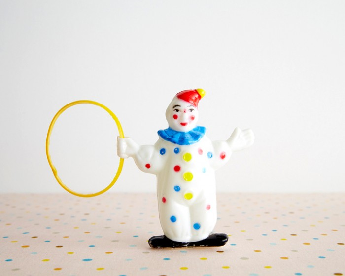 Vintage Plastic Circus Clown Cake Cupcake Topper Novelty