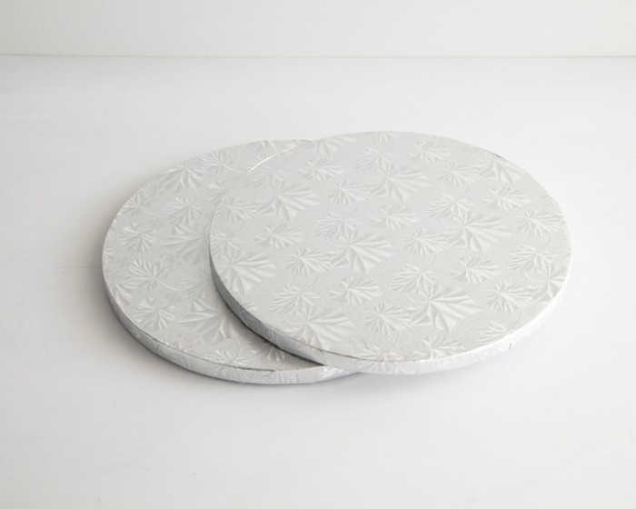 10 round silver foil cake drum board