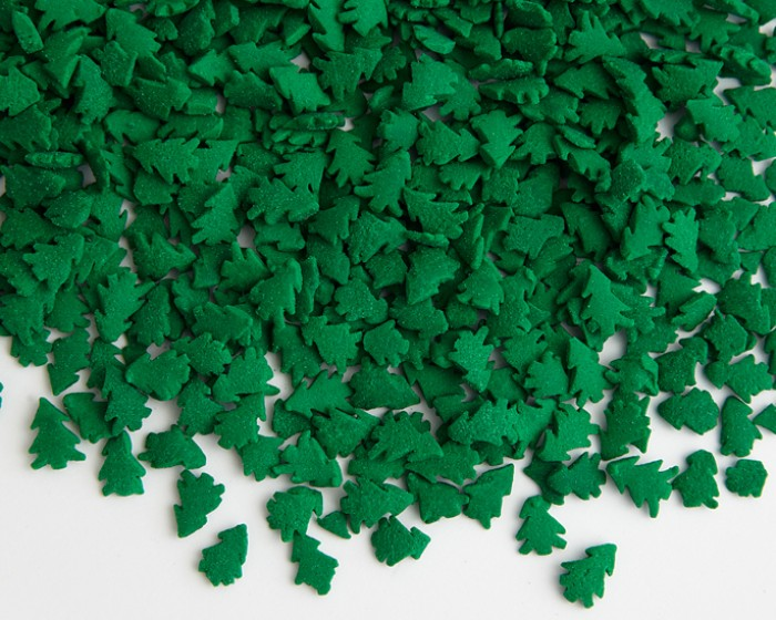 large green trees cupcake confetti sprinkles