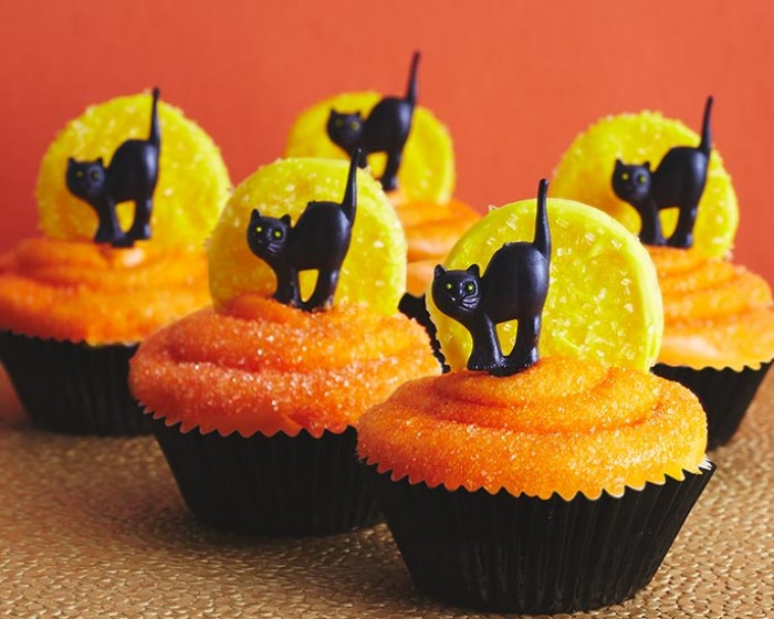 Cat and Moon Halloween Cupcakes | Cakegirls Step x Step