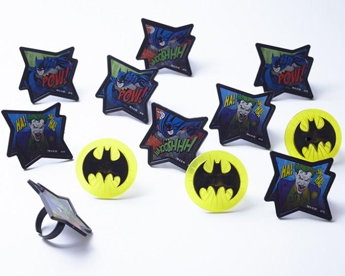 Batman Superhero Themed Cupcake Ring Novelty Picks
