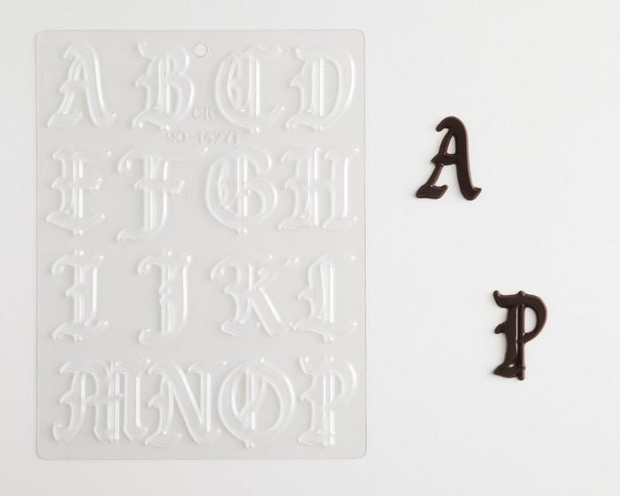 alphabet gothic font a b c d e f g h i j k l m n o p chocolate candy molds