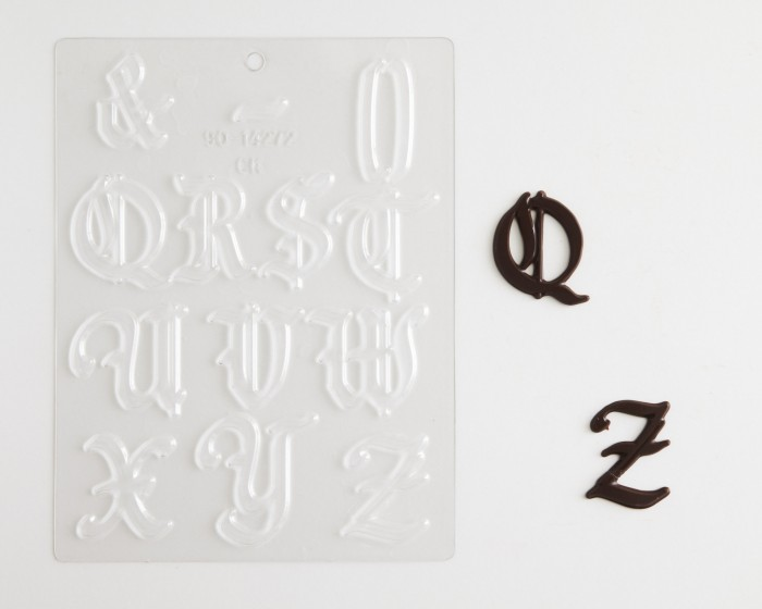 large gothic alphabet set q r s t u v w x y z chocolate candy molds