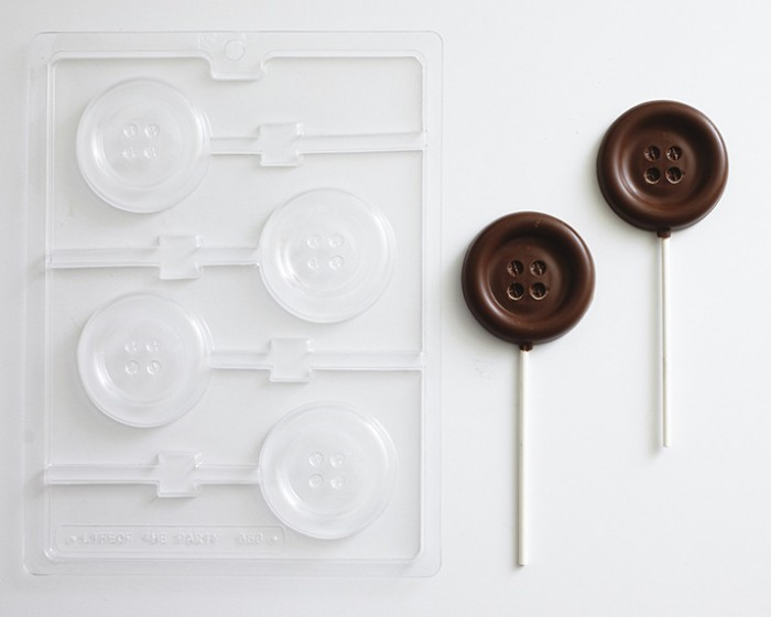 Button Sucker Lollipop Chocolate and Candy Mold