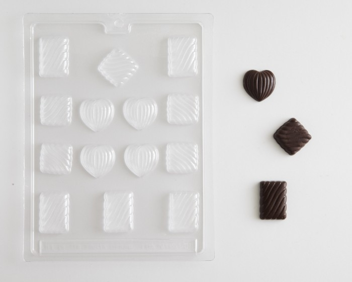 Mini Heart Diamond Square Chocolate Candy Mold Assortment |