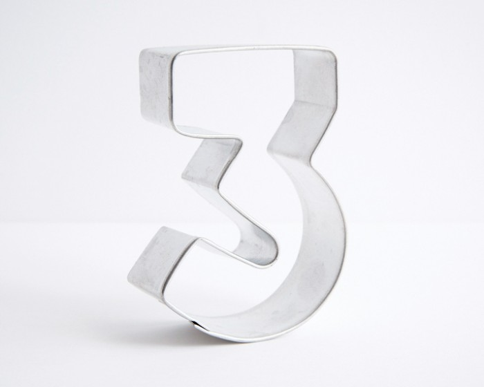 number 3 three shaped cookie cutters