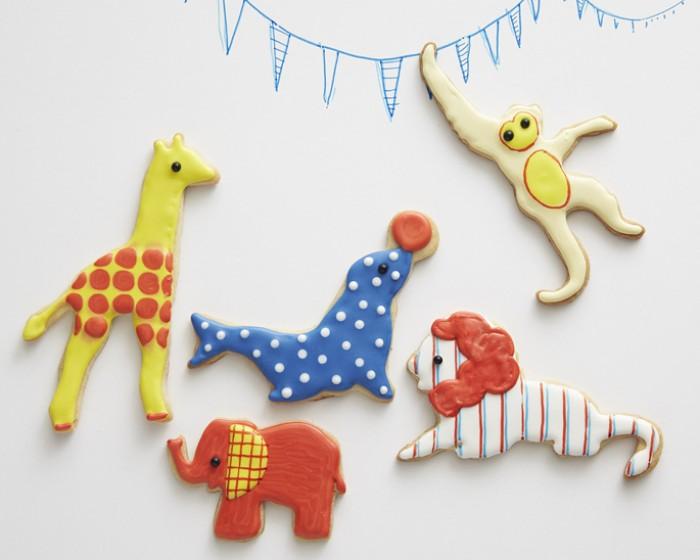 Circus Sugar Animal Cookie How-To, Giraffe Monkey, Seal, Elephant, Lion Cookies