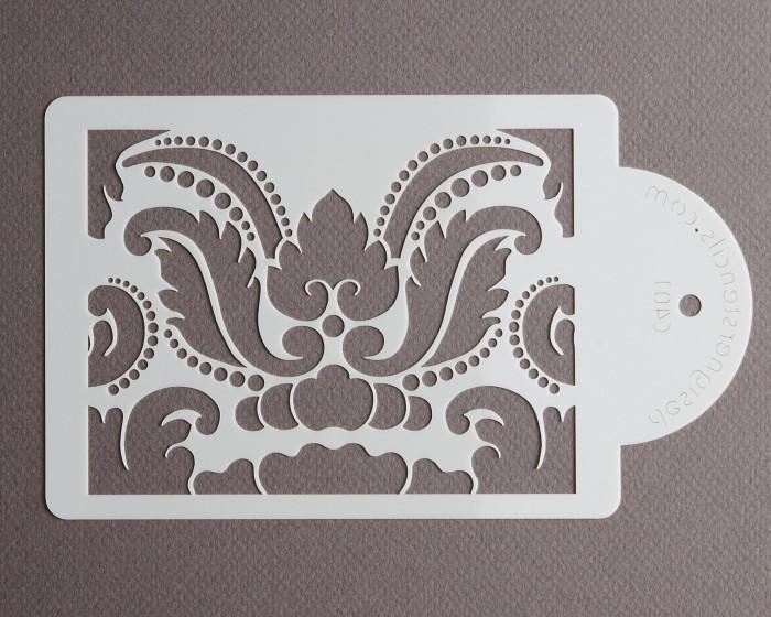 "Damask Cake Stencil (4.1"" x 5.5"") top tier wedding cake decorating stencils"