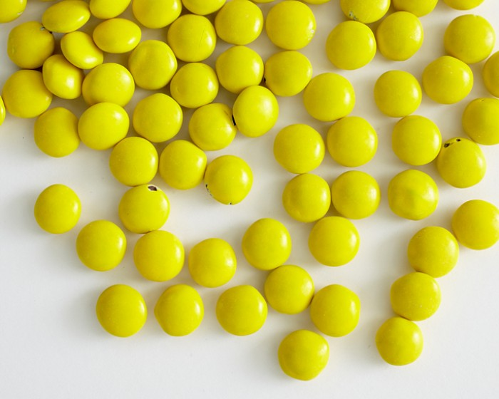 yellow chocolate candy drops