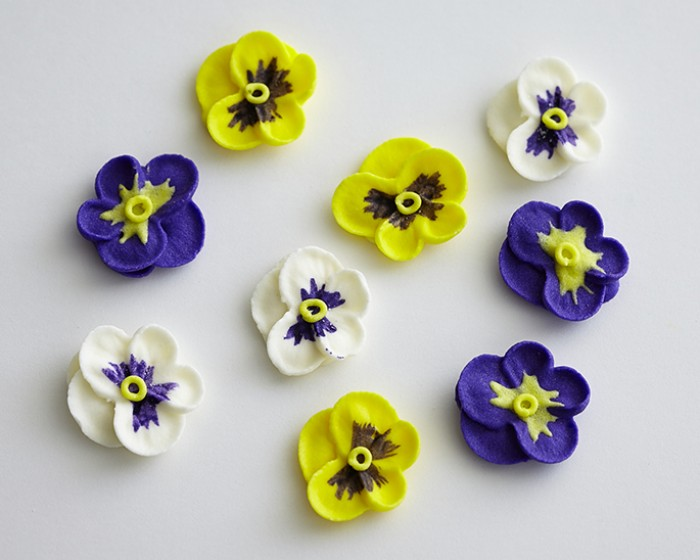 Assorted royal icing pansy flowers set of 9 cakegirls edible pre made yellow white violet assorted icing pansies mightylinksfo
