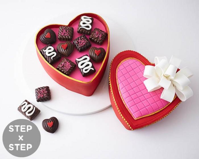 How To Make A Heart Shaped Box of Chocolates Cake| Cakegirls Step x Step Tutorials + Supplies