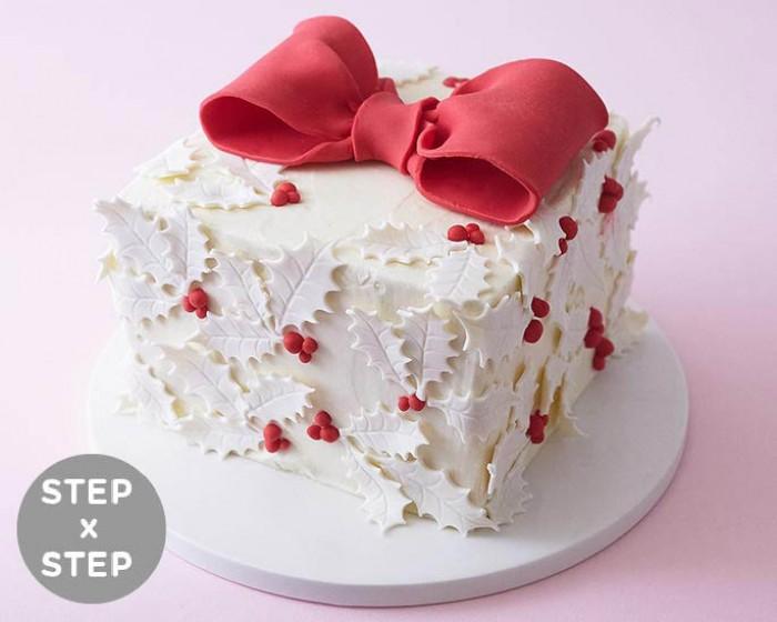 How To Make A Holly Leaf Gift Box Cake   Cakegirls Step x Step