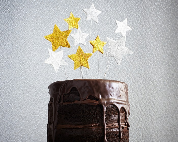 Bouncy Silver Gold Star Cake How To