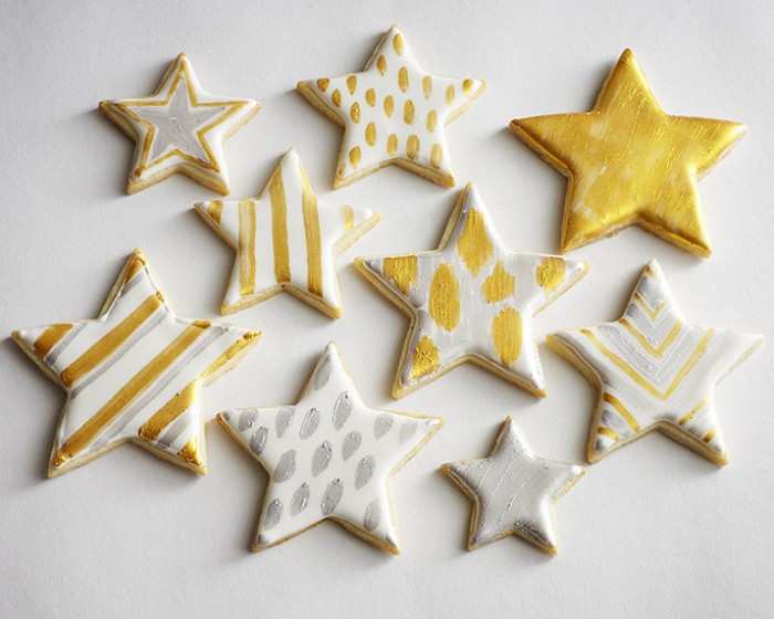 Gold Silver Metallic Star Painted Sugar Cookies How To |