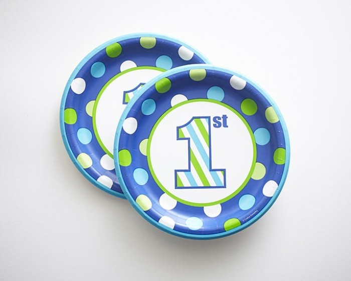 Boys 1st Birthday Paper Plates Plates Blue Green Stripes Polka Dots  sc 1 st  Cakegirls : birthday paper plates - pezcame.com