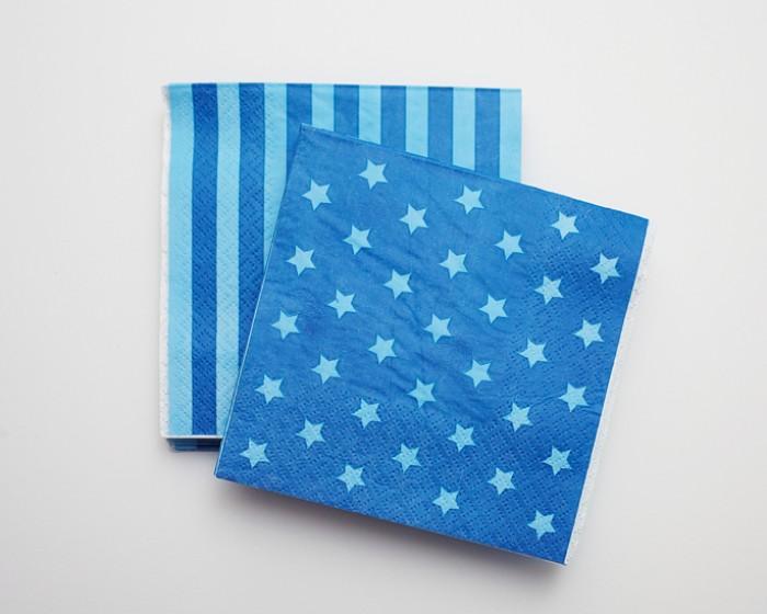 Light Blue Dark Blue Star Stripe Paper Napkins |