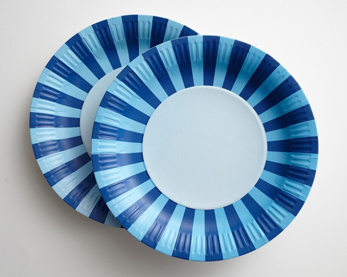 Navy Blue Light Blue Striped Paper Plates & Large Navy Blue Striped Paper Plates-Set of 12 Cakegirls