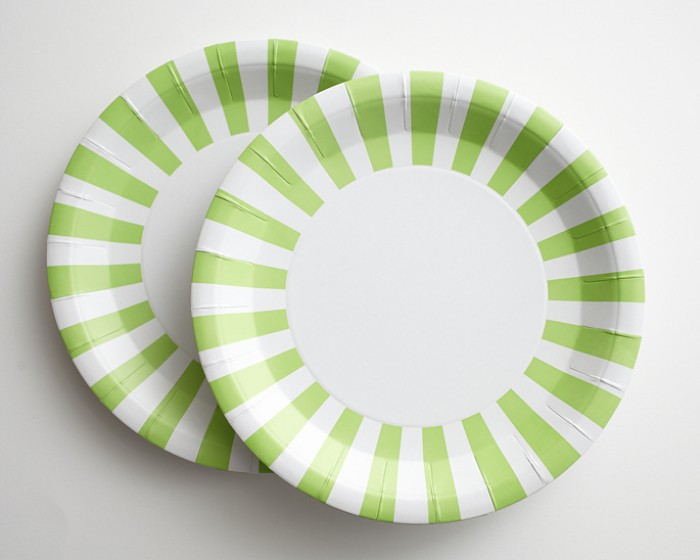 Light Lime Green White Striped Paper Plates