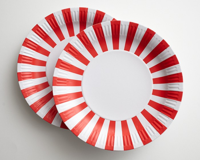 Large Red and White Striped Dinner Paper Plates & Large Red and White Striped Paper Plates-Set of 12 Cakegirls