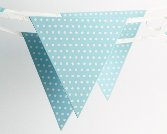 Light Pastel Blue Paper Bunting Flags