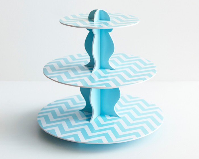 Light Blue Reversible Cardboard Cupcake Stand |