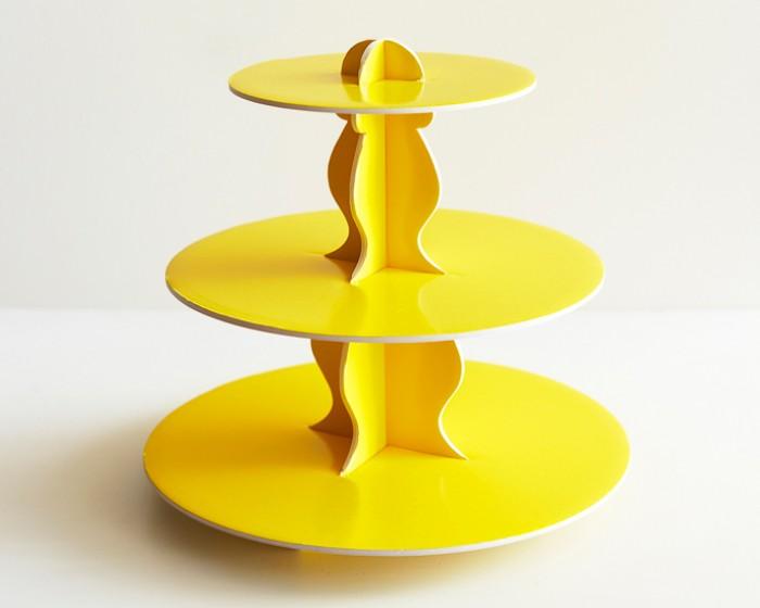 Lemon Yellow Reversible Cardboard Cupcake Stands