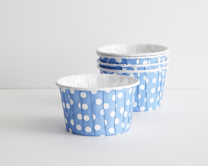 Blue Polka Dot Paper Nut Candy Portion Cups