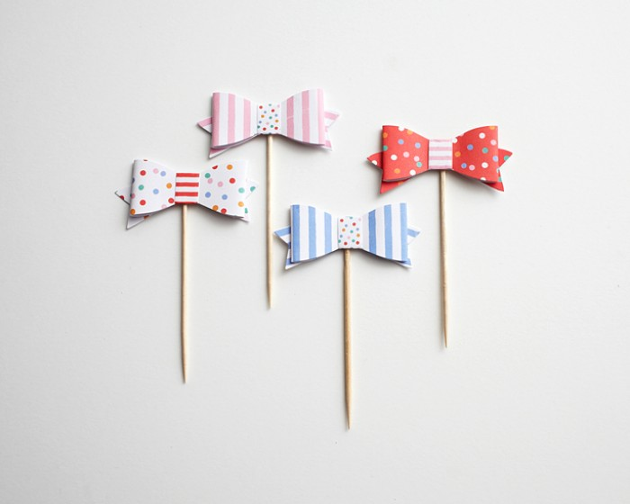 Primary Stripe Confetti Paper Bow Tie Cupcake Toothpicks Toppers