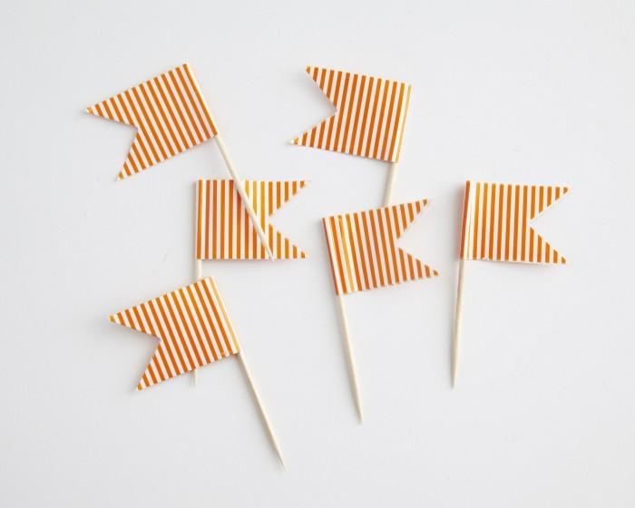 orange striped toothpick cupcake flags