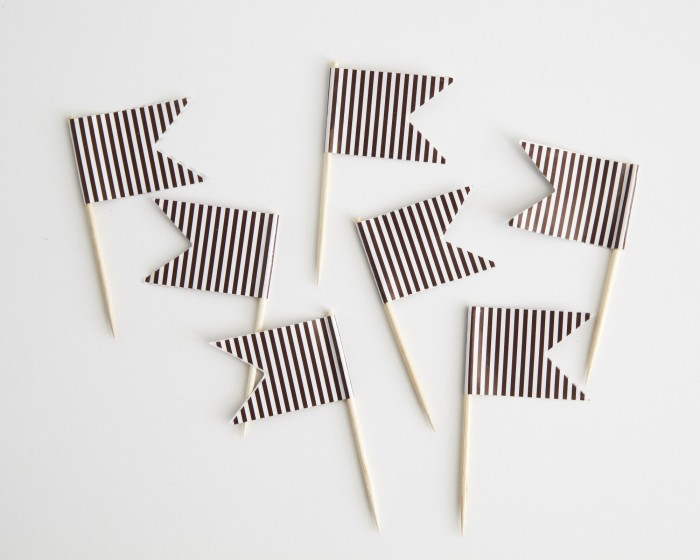 brown striped paper cupcake toothpick flags