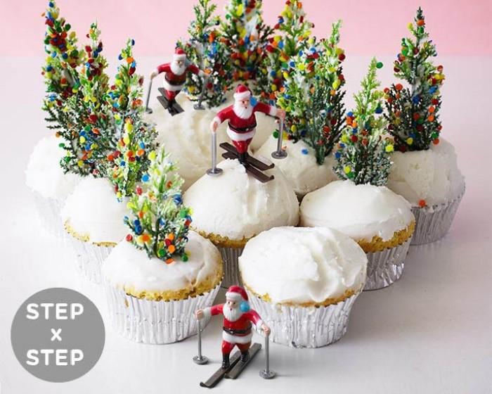 Santa Ski Scene Cupcakes for Christmas