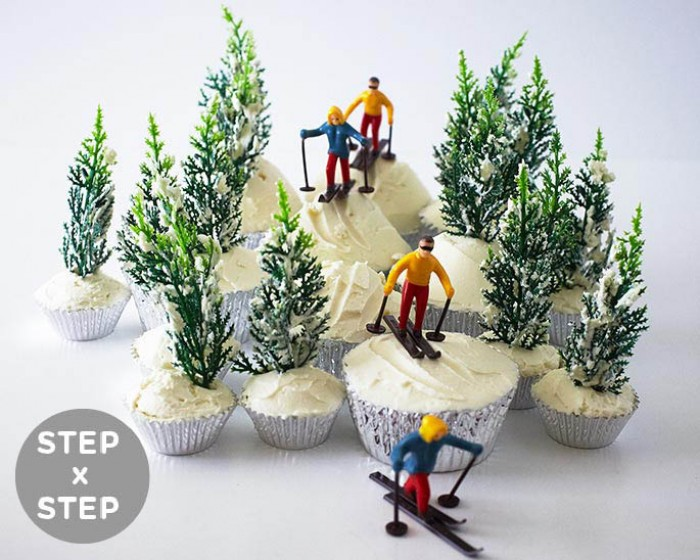 Winter Skiing Ski Slope Cupcakes How-to