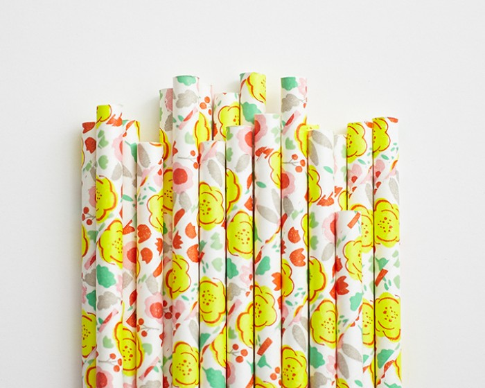 yellow orange floral print paper drinking straws