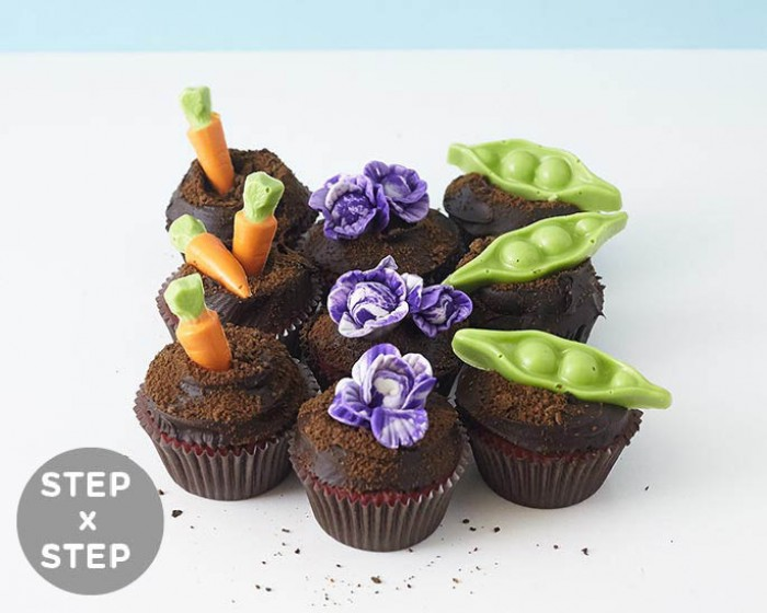 Make these garden cupcakes complete with carrots, cabbage and pea pods in no time at all. Perfect for your favorite gardener or Spring Easter table. See our step by step tutorial for more! | Cakegirls Tutorials + Supplies