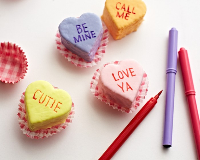 How To Make Conversation Heart Cake Petit Fours