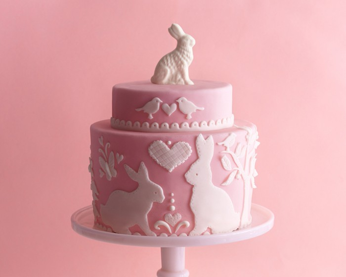 Pink White Bunny Rabbit Silhouette Easter Cake How-To