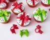 Red and Lime Green Plastic Gift Box Bow Cupcake Topper Rings