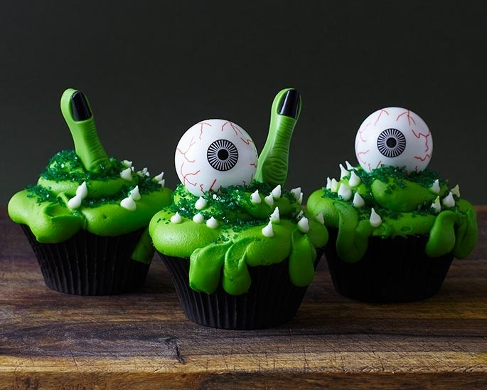 24 Halloween Witch/'s Finger and Eyeball Cupcake Picks Cake Toppers Party Supply
