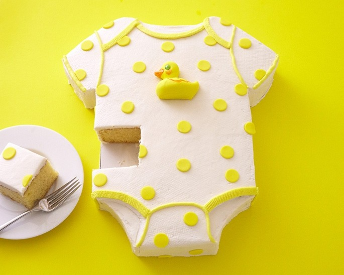 Onesie Cake Pan For A Duckie Baby Shower