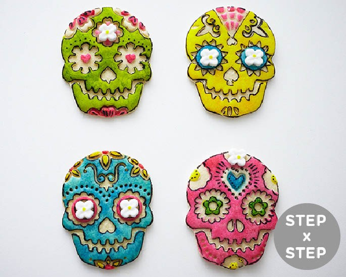 How To Make Easy Day Of The Dead Skull Cookies Using A Stamp And Food Coloring