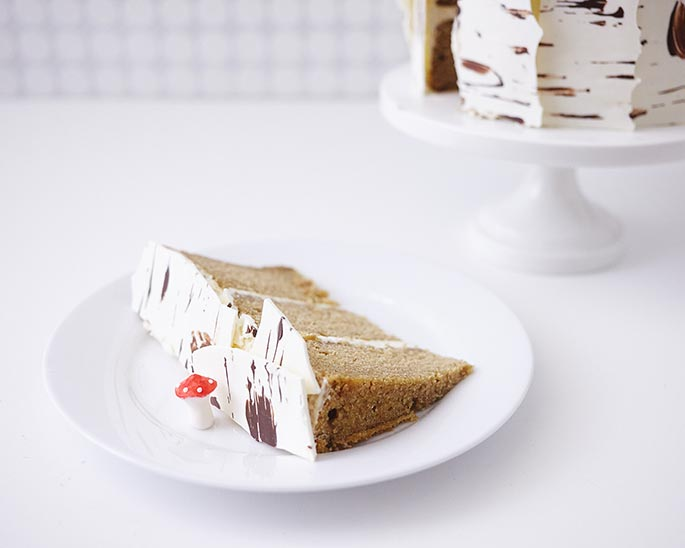 Birch Tree Slice of Cake