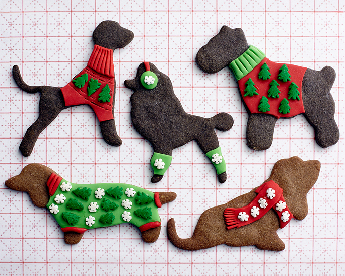 How to make Ugly Fondant Christmas Doggie Sweaters