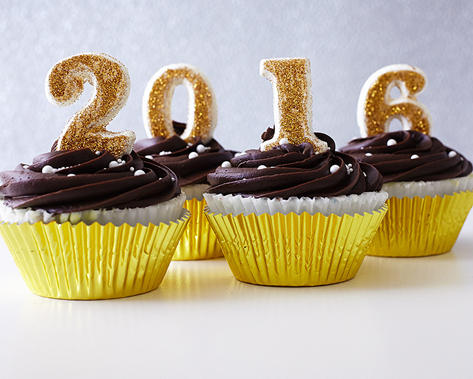 Gold 2015 New Year's Eve Cake Toppers