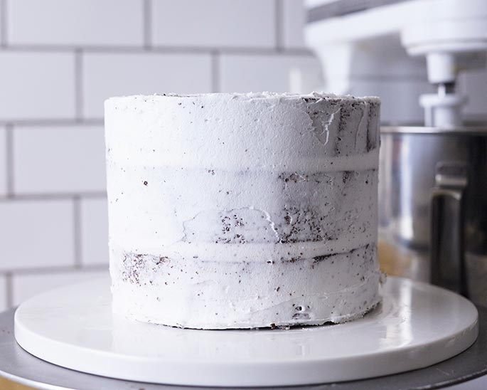 Crumbcoat your cake layers