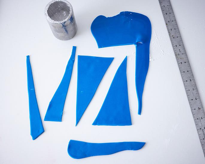 Blue fondant triangles